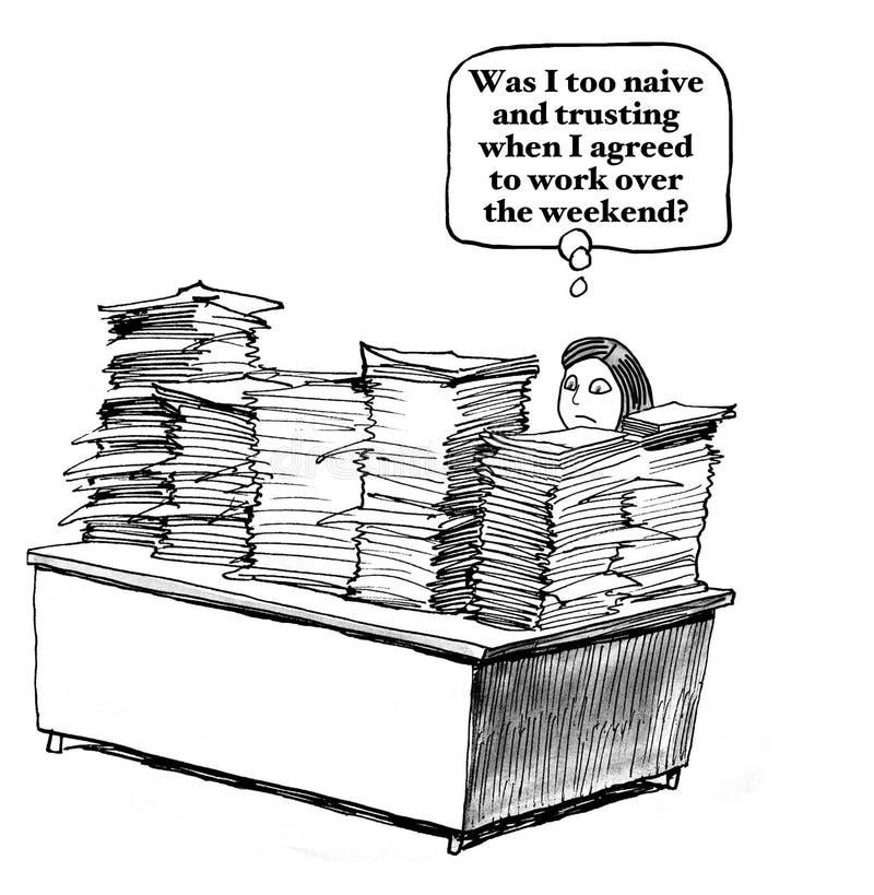 Naïf de travailler le week-end illustration de vecteur