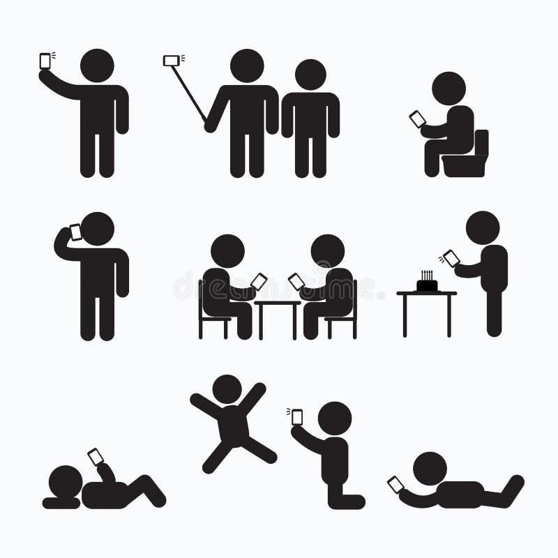 Nałóg obsesja Używać Smartphone kija postać ilustracji