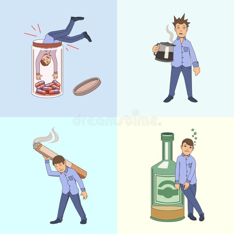 Nałogi i zli habbits Set przykładów charaktery również zwrócić corel ilustracji wektora odosobniony royalty ilustracja