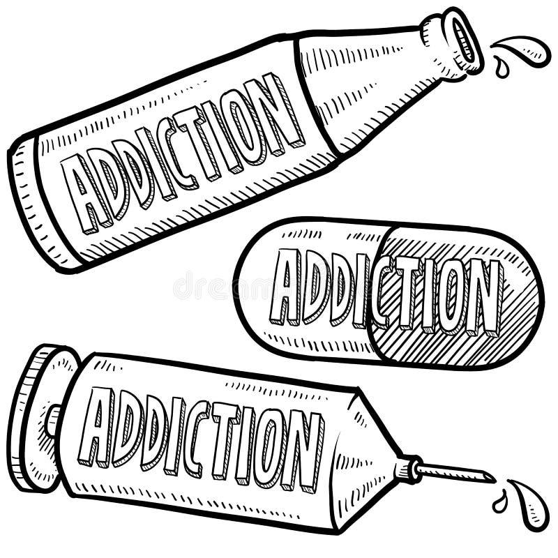 Nałogu i nadużywania narkotyków nakreślenie ilustracji