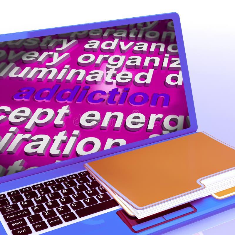 Nałogu słowa chmury laptop Znaczy obsesji Attachme I pragnienie ilustracji