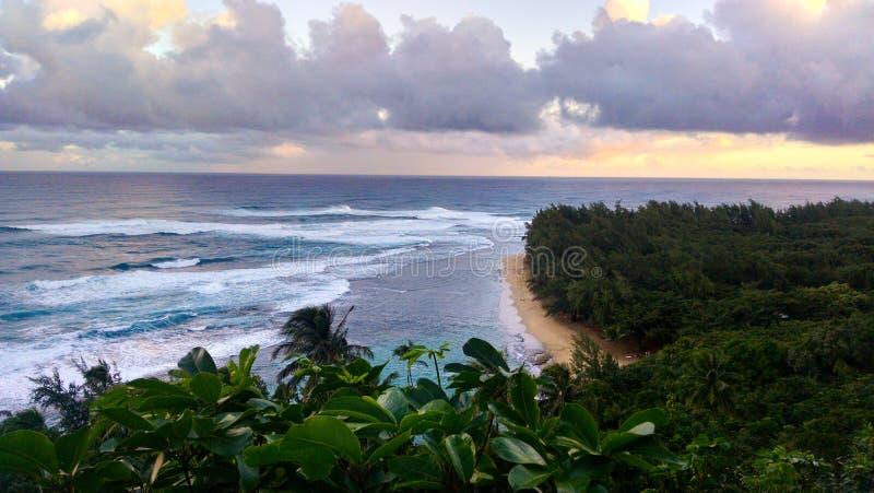 Na帕利海岸线海滩在考艾岛夏威夷 库存照片