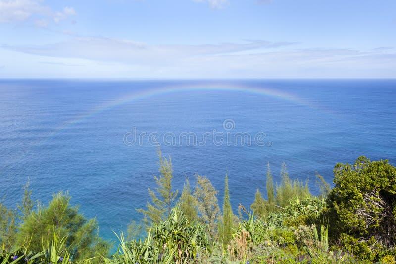 Na梵语海岸彩虹,考艾岛 库存图片