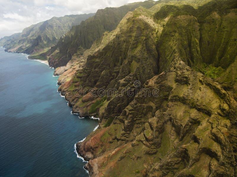 Na梵语海岸鸟瞰图在考艾岛海岛,夏威夷上的 免版税图库摄影