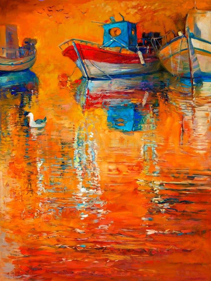 na łodzi ilustracji