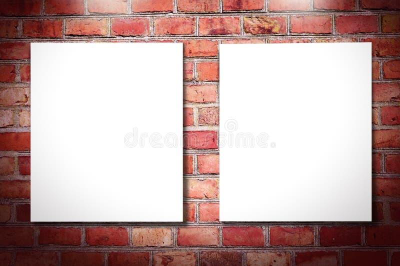 Na ściana z cegieł biały ramy ilustracja wektor