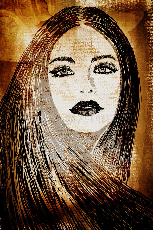 Na ścianie graffiti kobieta ilustracja wektor