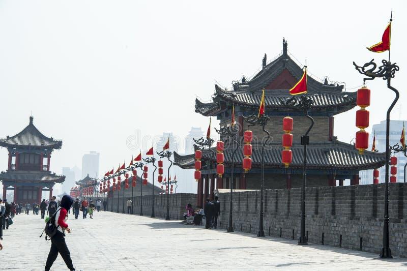 Na ścianie Xian, Chiny zdjęcia stock
