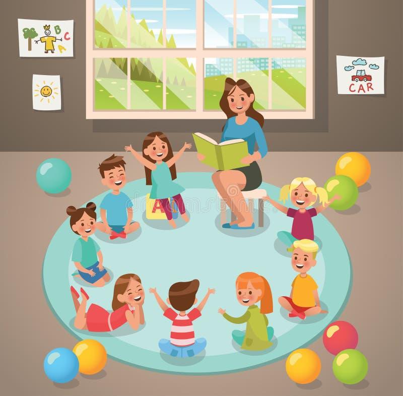 Na atividade do professor e das crianças da sala de aula no jardim de infância Projeto do vetor ilustração stock