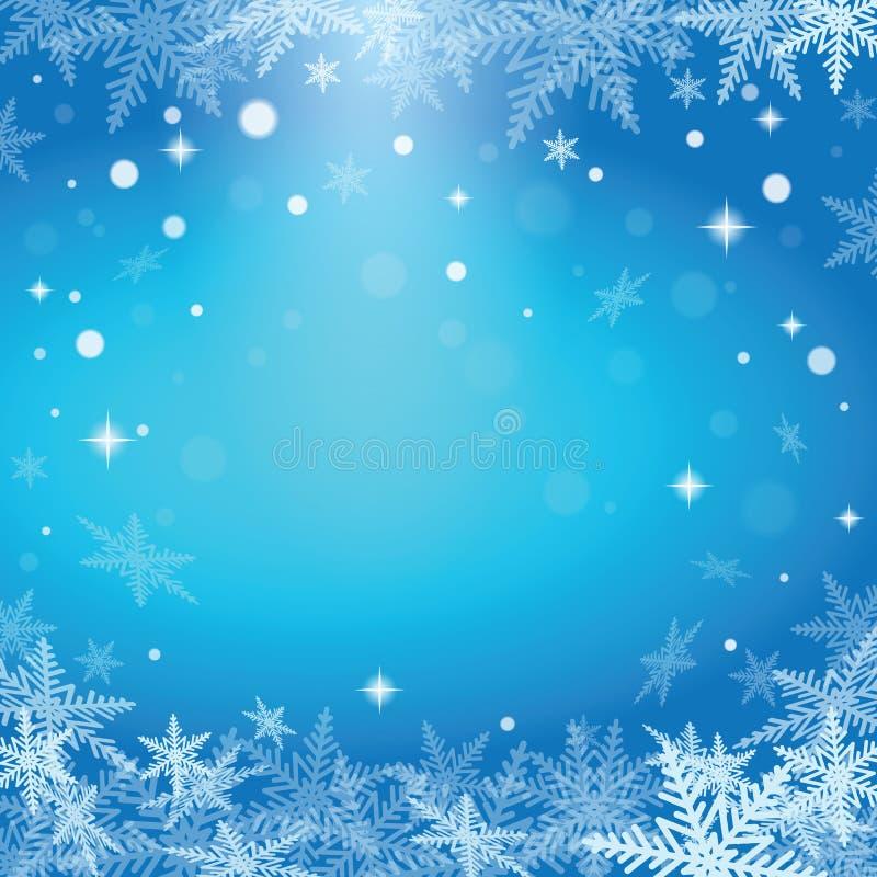 Na błękitny tle bożenarodzeniowi płatek śniegu royalty ilustracja