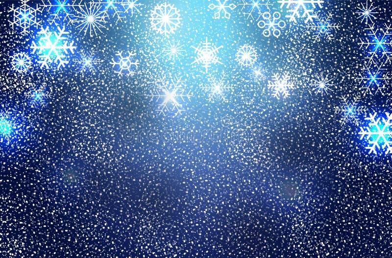 Na błękitny tle bożenarodzeniowi płatek śniegu również zwrócić corel ilustracji wektora ilustracja wektor
