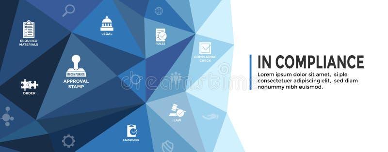 Na bandeira de encabeçamento da Web da conformidade com grupo/empresa do ícone passou a inspeção ilustração stock