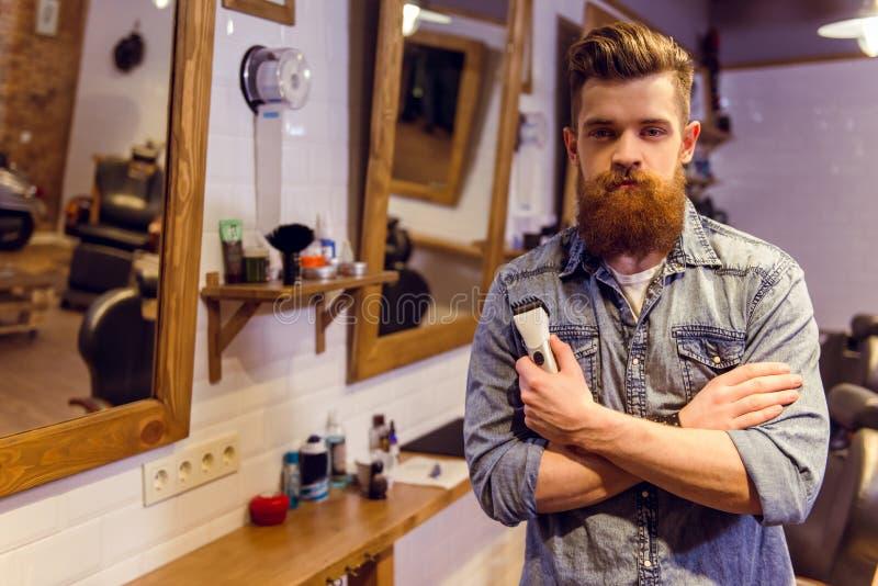 Na barbearia foto de stock royalty free