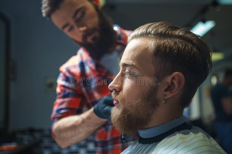Na barbearia fotografia de stock