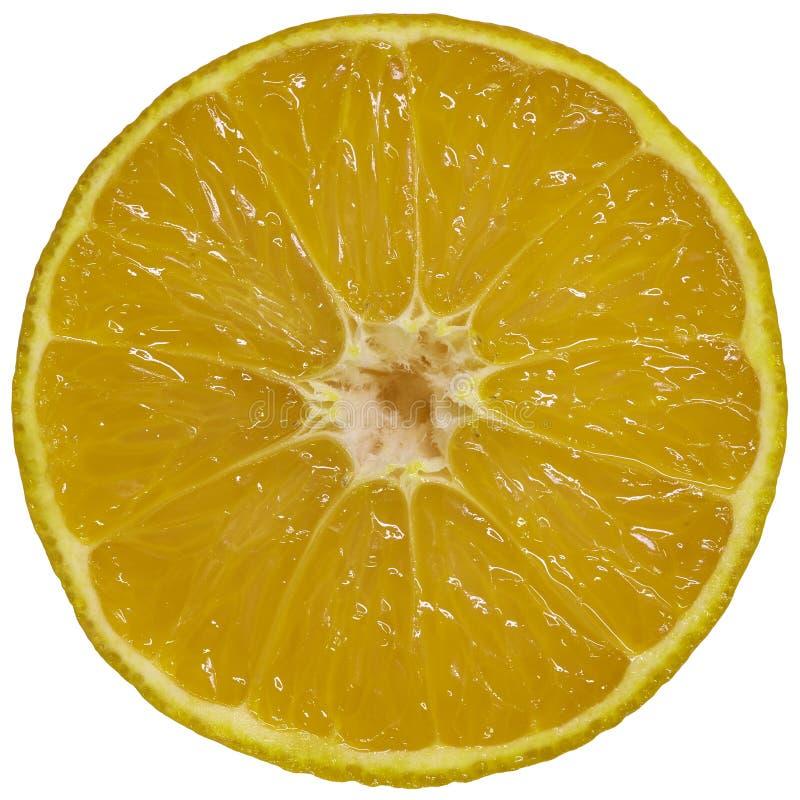 na białego pomarańczowego plasterka tła abstrakcjonistycznym przedmiocie Żółty pomarańczowy plasterek na białym tle Płaska mandar obraz royalty free
