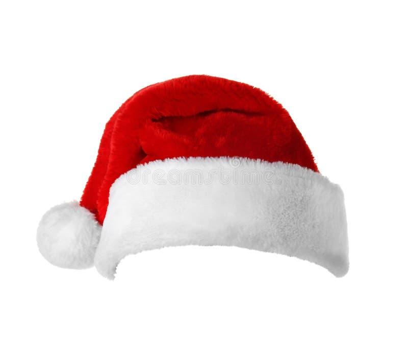 Na biały tle czerwony Santa kapelusz Claus obrazy royalty free