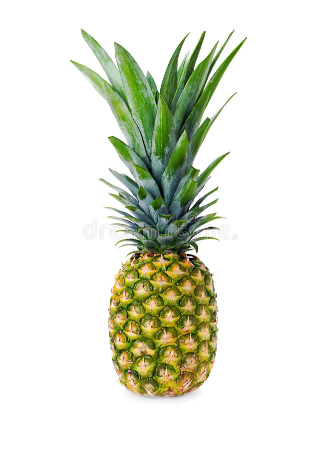 Na biały tle dojrzały cały ananas zdjęcie stock