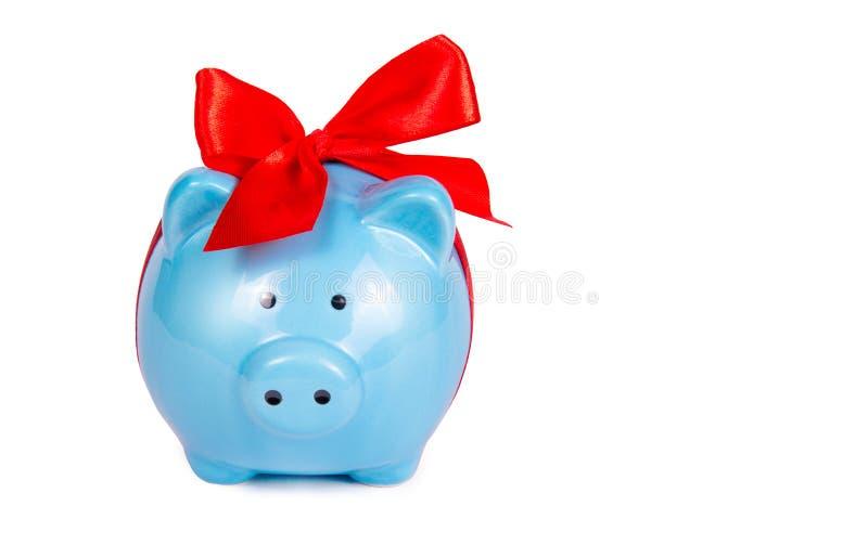 Na biały tle prosiątko błękitny bank Błękitna świnia z czerwonym łękiem Zabawkarska świnia zdjęcia royalty free