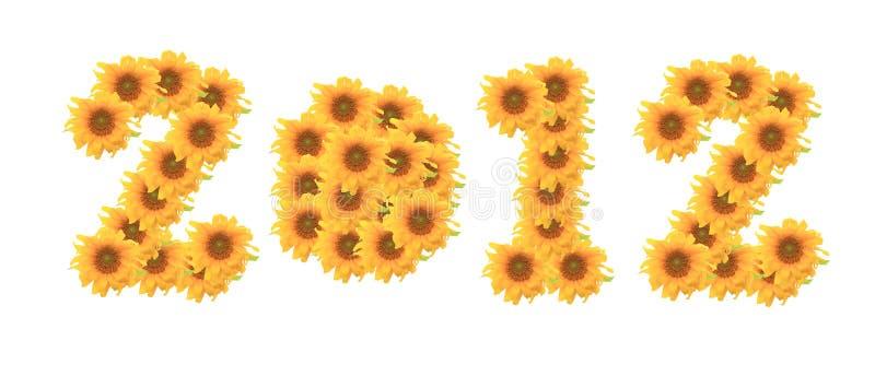 Na biały tle słońce kwiat 2012 zdjęcia stock
