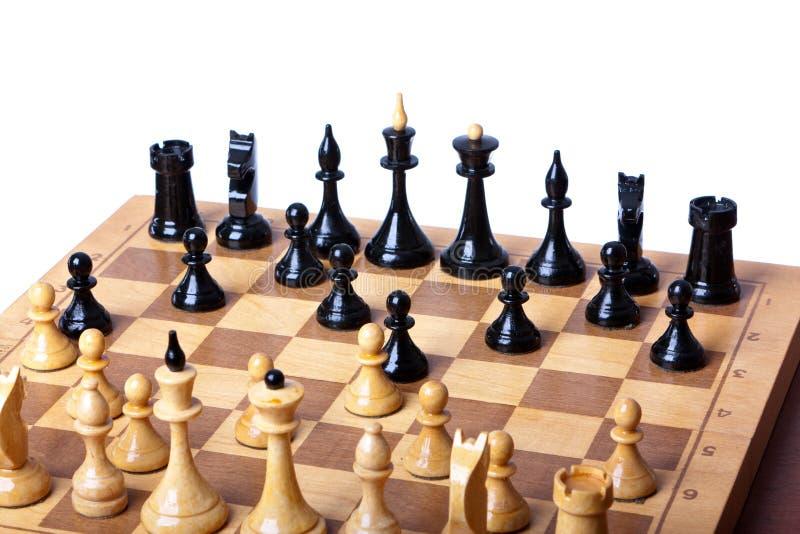 Na biały tle szachy deska obraz royalty free