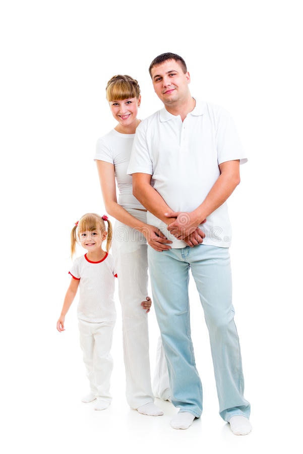 Na biały tle szczęśliwa młoda rodzina zdjęcia royalty free