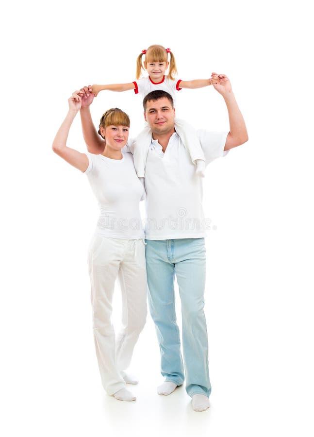 Na biały tle szczęśliwa młoda rodzina zdjęcie stock