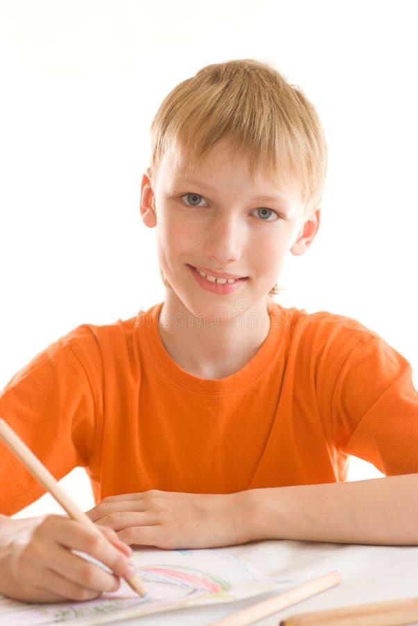 Na biel chłopiec farba zdjęcia royalty free