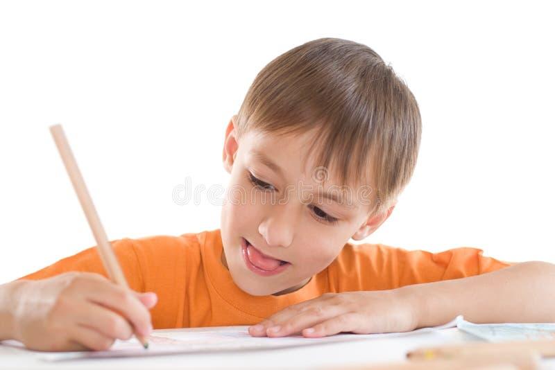 Na biel chłopiec farba obrazy stock