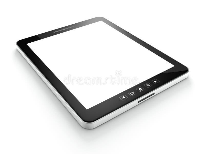 Na biel pastylka czarny komputer (pastylka komputer osobisty) ilustracji