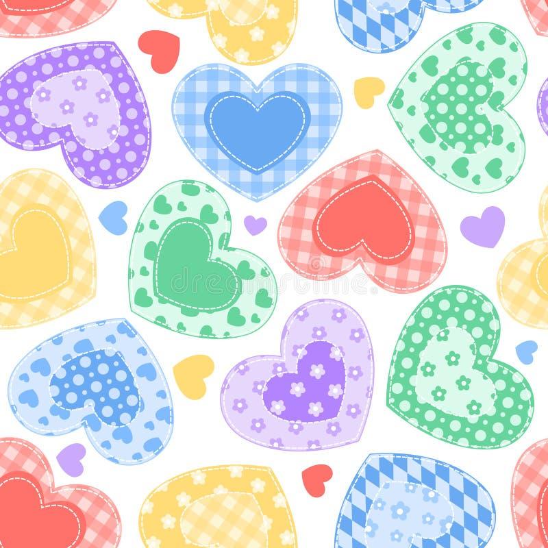 Na biel patchworków serca. royalty ilustracja