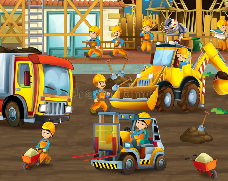 Na budowie - ilustracja dla dzieci ilustracja wektor