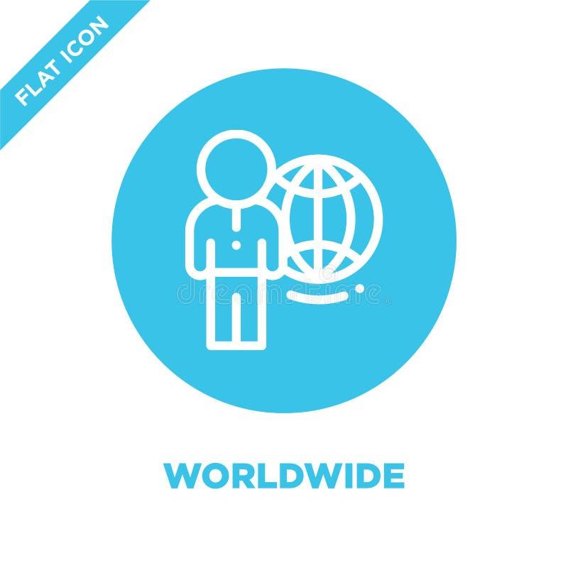 Na całym świecie ikona wektor Cienka linii na całym świecie konturu ikony wektoru ilustracja na całym świecie używa na sieci i wi ilustracji