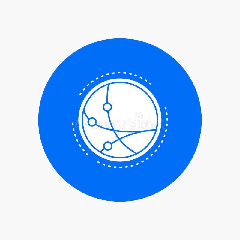 na całym świecie, komunikacja, związek, internet, sieć glifu Biała ikona w okręgu Wektorowa guzik ilustracja royalty ilustracja