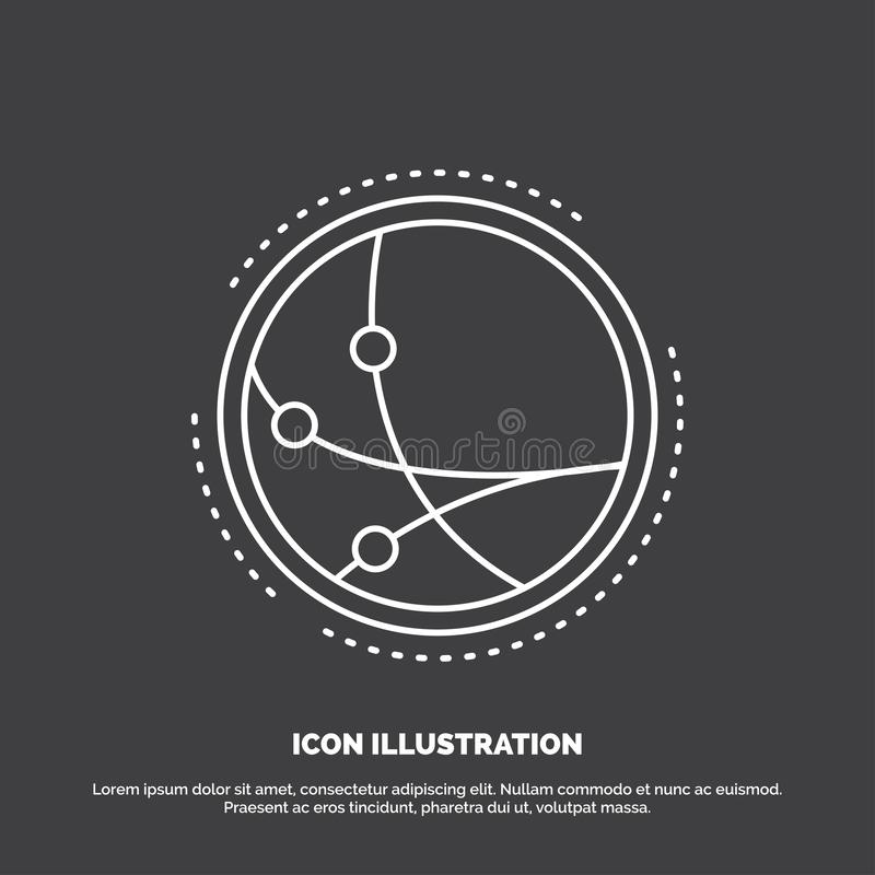 na całym świecie, komunikacja, związek, internet, sieci ikona Kreskowy wektorowy symbol dla UI, UX, strona internetowa i wisz?cej royalty ilustracja