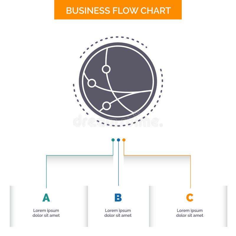 na całym świecie, komunikacja, związek, internet, sieci Spływowej mapy Biznesowy projekt z 3 krokami Glif ikona Dla prezentacji ilustracji