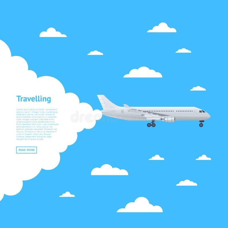 Na całym świecie lotniczy podróżny plakat z dżetowym samolotem royalty ilustracja