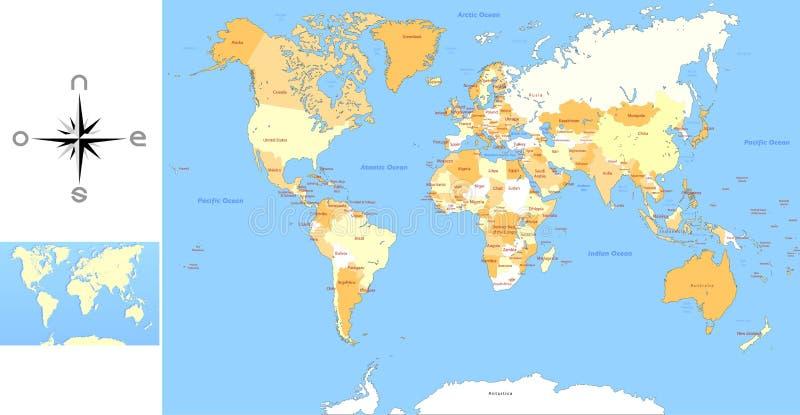 na całym świecie mapa ilustracyjny wektor royalty ilustracja