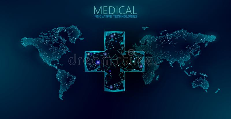 Na całym świecie medycyny apteki dostawa Globalny wysyłki apteki usługi wiszącej ozdoby app Nowożytny opieki zdrowotnej technolog ilustracji