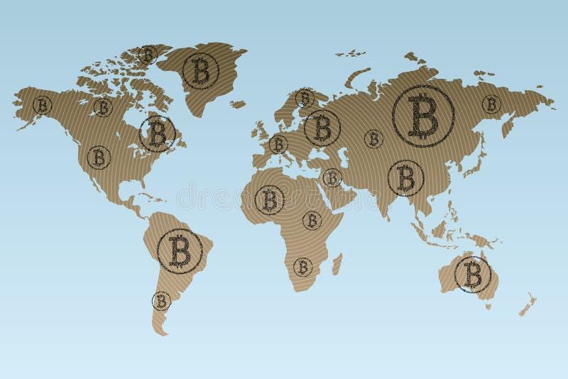 Na całym świecie pracować związane blockchain technologie royalty ilustracja
