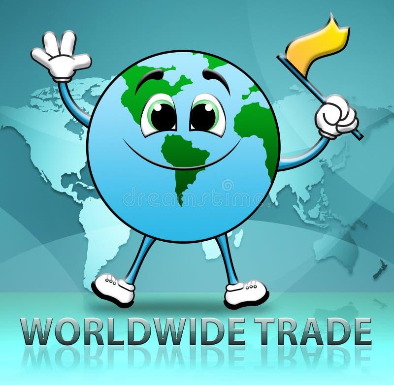 Na całym świecie Wskazuje Importową handlu elektronicznego 3d ilustrację handel ilustracji