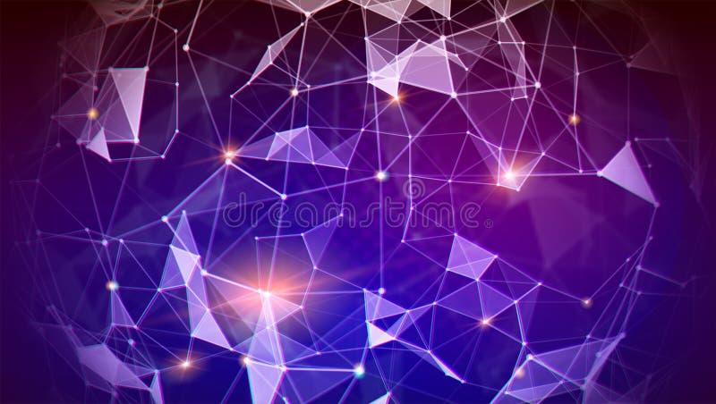 Na całym świecie wymiana informacja internetem i satelitami Wzór plexus, globalna sieć dla finanse royalty ilustracja
