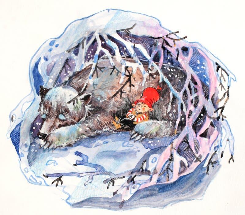 Na caverna ilustração royalty free