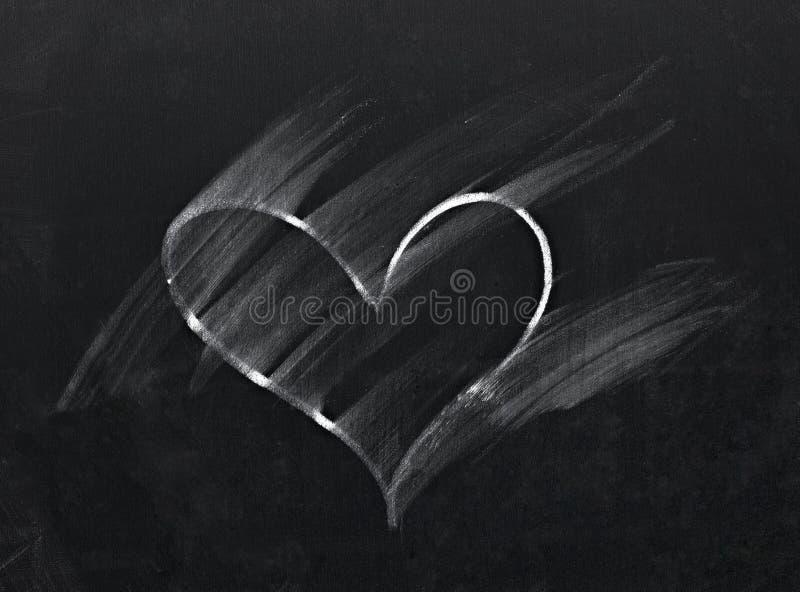 Na chalkboard wymazujący serce zdjęcia royalty free
