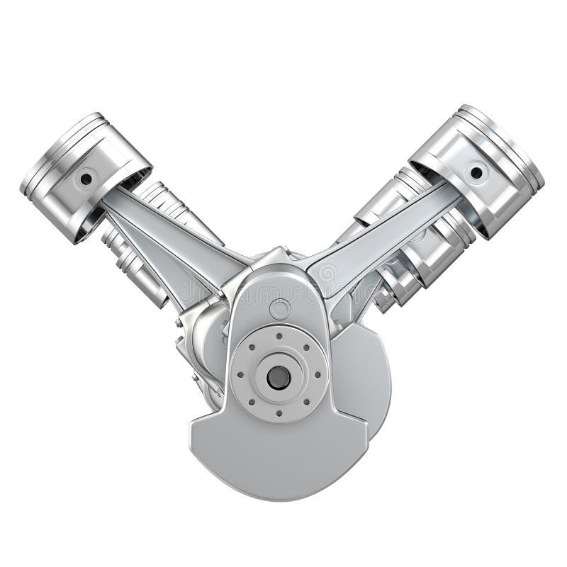 Na crankshaft parowozowi V8 tłoki, frontowy widok ilustracji
