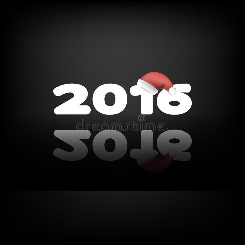 Download 2016 Na Czarnym Tle Z Santa Odbiciem I Kapeluszami Ilustracji - Ilustracja złożonej z świętowanie, kalendarz: 57673934
