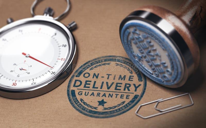 Na czas dostawie, kurier punktualności, usługa, i ilustracji