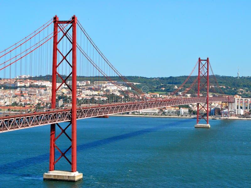 25na de Abril Bridge, Lissabon Portugal arkivfoton