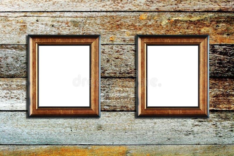 Na drewnianym tle fotografii drewniana rama obraz royalty free