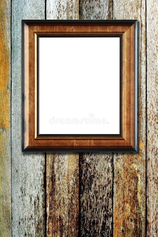 Na drewnianym tle fotografii drewniana rama obrazy stock