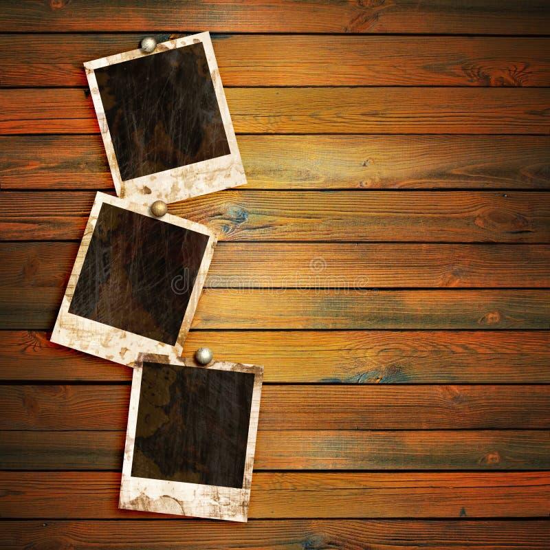 Na drewnie fotografii stare ramy obraz stock